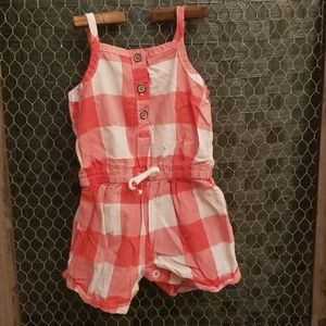Carter's Baby Girls Pink Plaid Romper Tank 3M